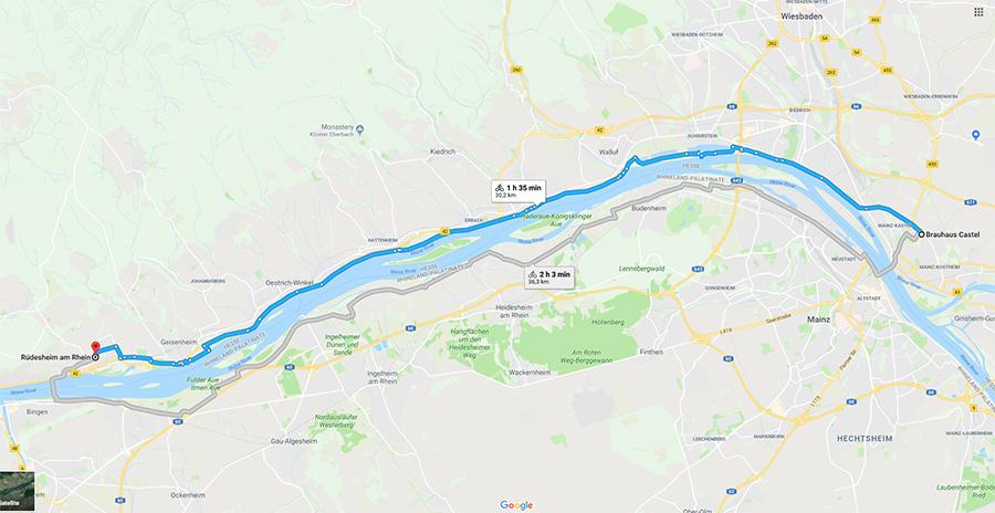Brauhaus Castel, Mainz-Kastel to Rüdesheim am Rhein