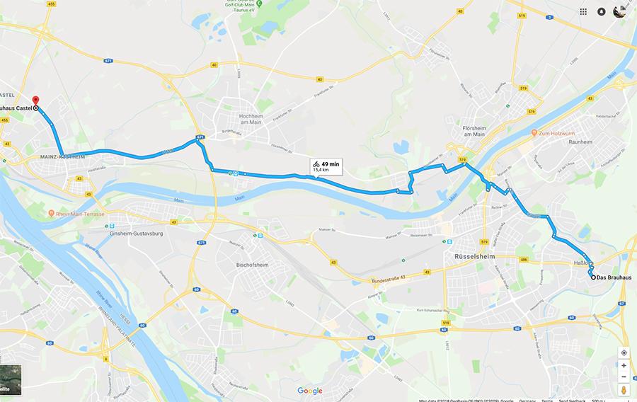 Das Brauhaus, Rüsselsheim to Brauhaus Castel, Mainz-Kastel