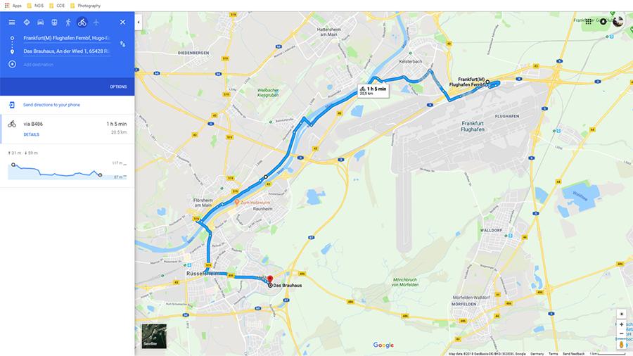 Bike Route: Frankfurt International Airport/Train Station to Das Brauhaus in Rüsselsheim
