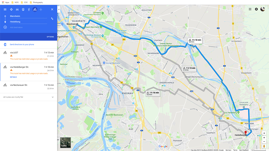 Bike Route: Mannheim to Heidelberg