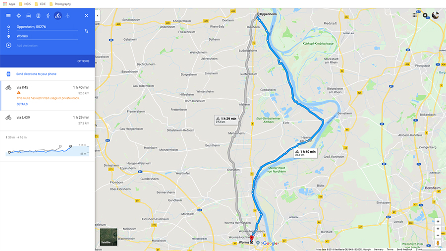Bike Route: Oppenheim to Worms
