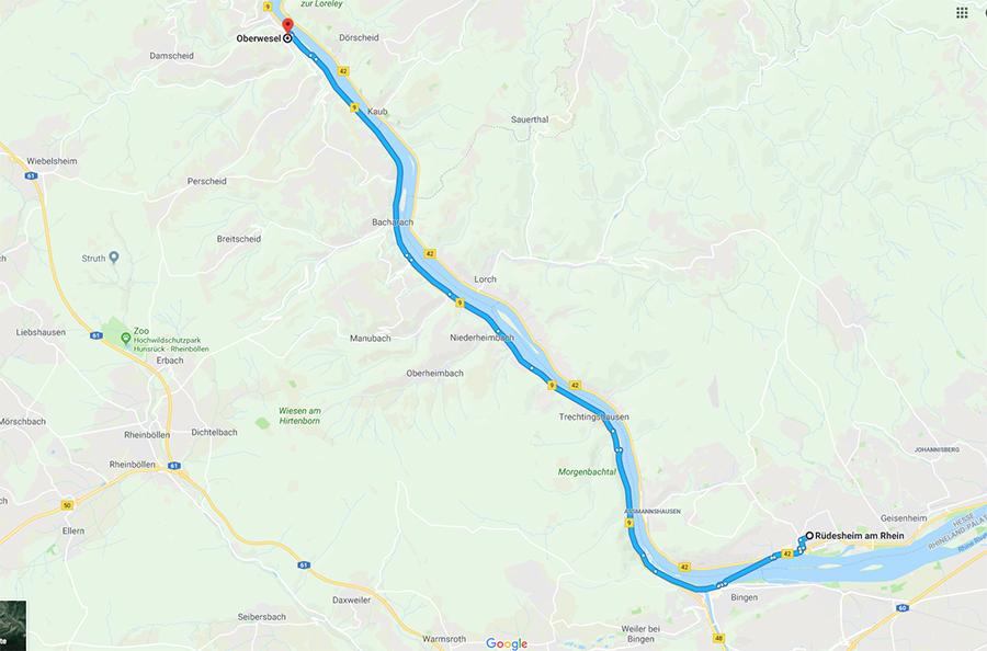 Rüdesheim am Rhein to Oberwesel