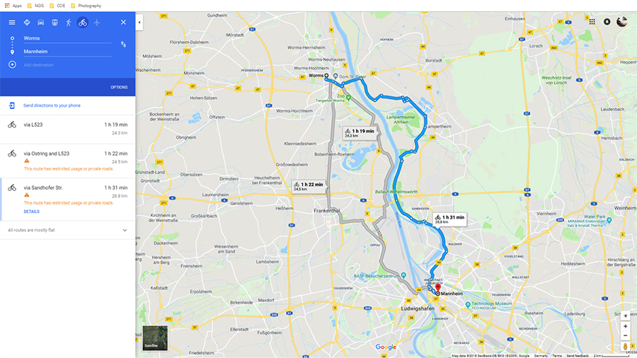 Bike Route: Worms to Mannheim